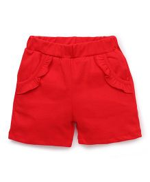 Babyhug Shorts With Elasticated Waist - Red