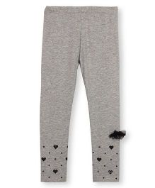 Barbie Leggings With Heart Print And Bow Applique - Grey