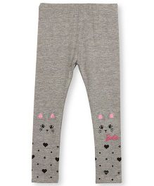 Barbie Leggings With 3D Kitten And Heart Print - Grey