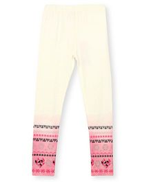Barbie Leggings With Printed And Ombre Shaded Border - Off White Pink