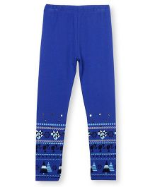Barbie Border Print Leggings With Embellishments - Blue