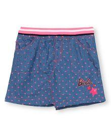 Barbie Laser Cut Denim Skirt With Contrast Sporty Rib Waistband - Blue