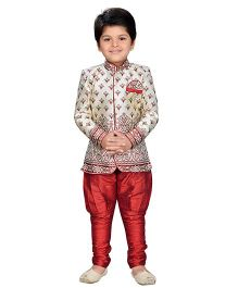 AJ Dezines Full Sleeves Sherwani With Jodhpuri Breeches - Maroon Silver