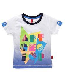 Spark  Half Sleeves T-Shirt Printed - White Blue