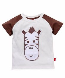 Spark Half Sleeves Tee Zebra Patch - Off White Brown