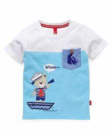Spark Half Sleeves T-Shirt Printed With Single Pocket - Sky Blue White