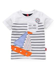 Spark  Half Sleeves Stripes T-Shirt With Yacht Patch - White