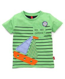 Spark  Half Sleeves Stripes T-Shirt With Yacht Patch - Green