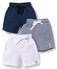 Spark  Shorts Plain And Stripes Pack Of 3 - White Navy