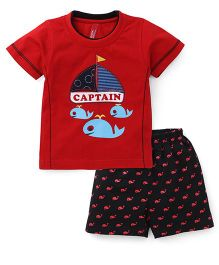Spark Half Sleeves T-Shirt With Shorts Set Whales Print - Red