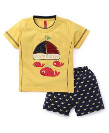 Spark Half Sleeves T-Shirt With Shorts Set Whales Print - Yellow