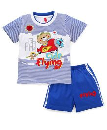 Spark Half Sleeves T-shirt With Shorts - Blue