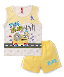 Spark Sleeveless T-Shirt With Shorts Set Fire Bear Print - White Yellow