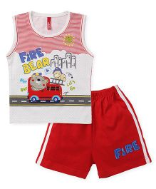 Spark Sleeveless T-Shirt With Shorts Set Fire Bear Print - White Red