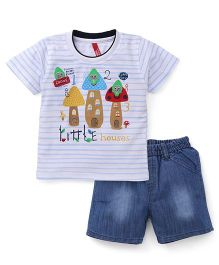 Spark Half Sleeves T-Shirt With Shorts Set Little House Print - White Sky Blue