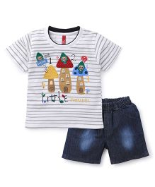 Spark Half Sleeves T-Shirt With Shorts Set Little House Print - White Blue