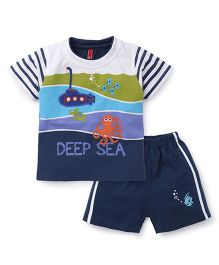 Spark Half Sleeves T-Shirt With Shorts Set Deep Sea Print - Blue