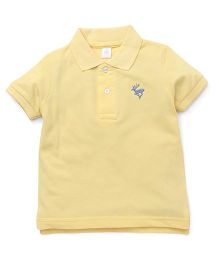 ToffyHouse Half Sleeves T-Shirt Deer Embroidery - Light Yellow