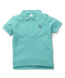 ToffyHouse Half Sleeves T-Shirt Deer Embroidery - Sea Green