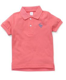ToffyHouse Half Sleeves T-Shirt Deer Embroidery - Pink
