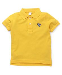 ToffyHouse Half Sleeves T-Shirt Deer Embroidery - Yellow