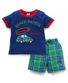 ToffyHouse Half Sleeves T-Shirt And Shorts With Patch Work And Embroidery - Royal Blue Green