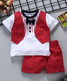 ToffyHouse Half Sleeves T-Shirt With Waistcoat Style And Shorts Set - Red & White