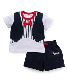ToffyHouse Half Sleeves T-Shirt With Waistcoat Style And Shorts Set - Navy & White