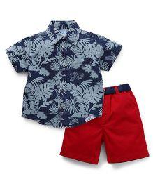 ToffyHouse Half Sleeves Denim Shirt Printed And Shorts - Navy & Red