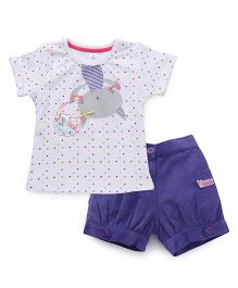 ToffyHouse Half Sleeves Dot Printed Top And Corduroy Shorts - White & Purple