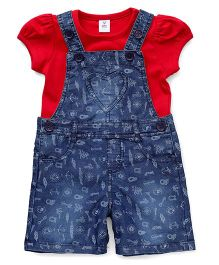 ToffyHouse Dungaree With Top Allover Print And Heart Patch - Blue & Red