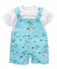 ToffyHouse Printed Dungaree With T-Shirt - Sea Green & White