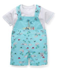 ToffyHouse Printed Dungaree With T-Shirt - Sea Green