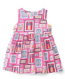 ToffyHouse Sleeveless Frock Printed - Pink