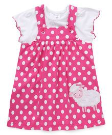 ToffyHouse Dotted Frock Sheep Patch With Inner Tee - Pink White