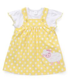 ToffyHouse Dotted Frock Sheep Patch With Inner Tee - Yellow White