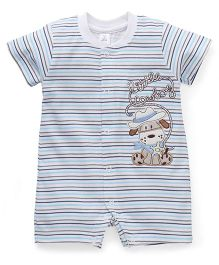 ToffyHouse Half Sleeves Striped Romper With Patch - White