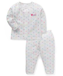 ToffyHouse Full Sleeves Night Suit Hearts Print - Off White