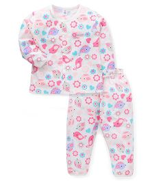 ToffyHouse Full Sleeves Night Suit Printed - White Pink Blue