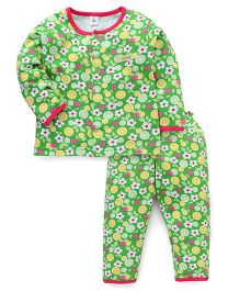 ToffyHouse Full Sleeves Night Suit Fruit And Flower Print - Green