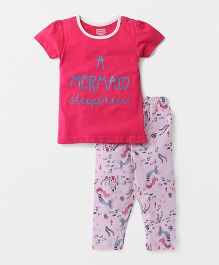 Babyhug Half Sleeves Night Suit Mermaid Print - Pink