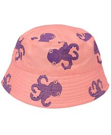EkChidiya Octopus Printed Reversible Bucket Hat - Pink & Purple