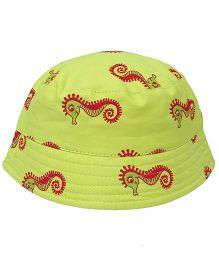 EkChidiya Seahorse Printed Reversible Bucket Hat - Fluorescent Green & Red