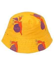 EkChidiya Snail Printed Reversible Bucket Hat - Yellow & Orange
