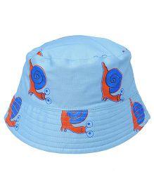 EkChidiya Snail Printed Reversible Bucket Hat - Light Blue & Dark Blue