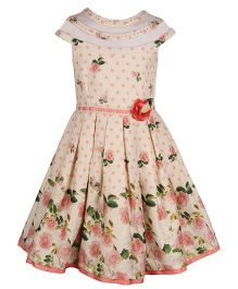 Cutecumber Cap Sleeves Party Wear Dress With Floral Print - Cream