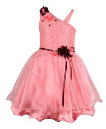 Cutecumber Sleeveless Partywear Frock With Floral Applique - Pink