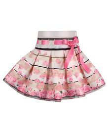 Cutecumber Party Skirt Rose Flower Print & Ribbon Detail - Beige