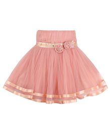 Cutecumber Party Wear Netted Skirt Floral Applique - Peach