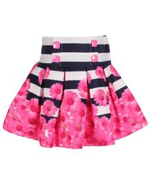 Cutecumber Floral Pleated Party Skirt - Pink